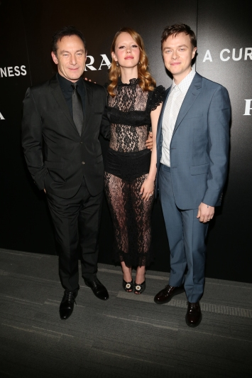 "Jason Issacs, Mia Goth and Dane Dehaan attend the New York Red Carpet Event of 20th Century Fox and New Regency Enterprises ""A Cure for Wellness,"" at the Landmark Sunshine Theater, co-hosted by Prada. Photo Courtesy of 20th Century Fox."