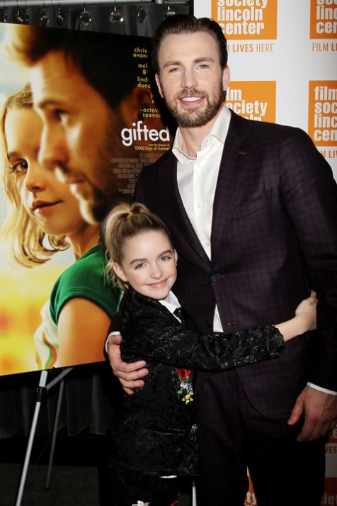 - New York, NY - 4/6/17 - Special New York Screening of Fox Searchlight's GIFTED in partnership with the Film Society of Lincoln Center - Pictured: Mckenna Grace, Chris Evans - Photo by: Dave Allocca/Starpix -Location: The New York Institute of Technology