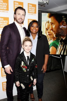 - New York, NY - 4/6/17 - Special New York Screening of Fox Searchlight's GIFTED in partnership with the Film Society of Lincoln Center - Pictured: Chris Evans, Mckenna Grace, Octavia Spencer - Photo by: Dave Allocca/Starpix -Location: The New York Institute of Technology