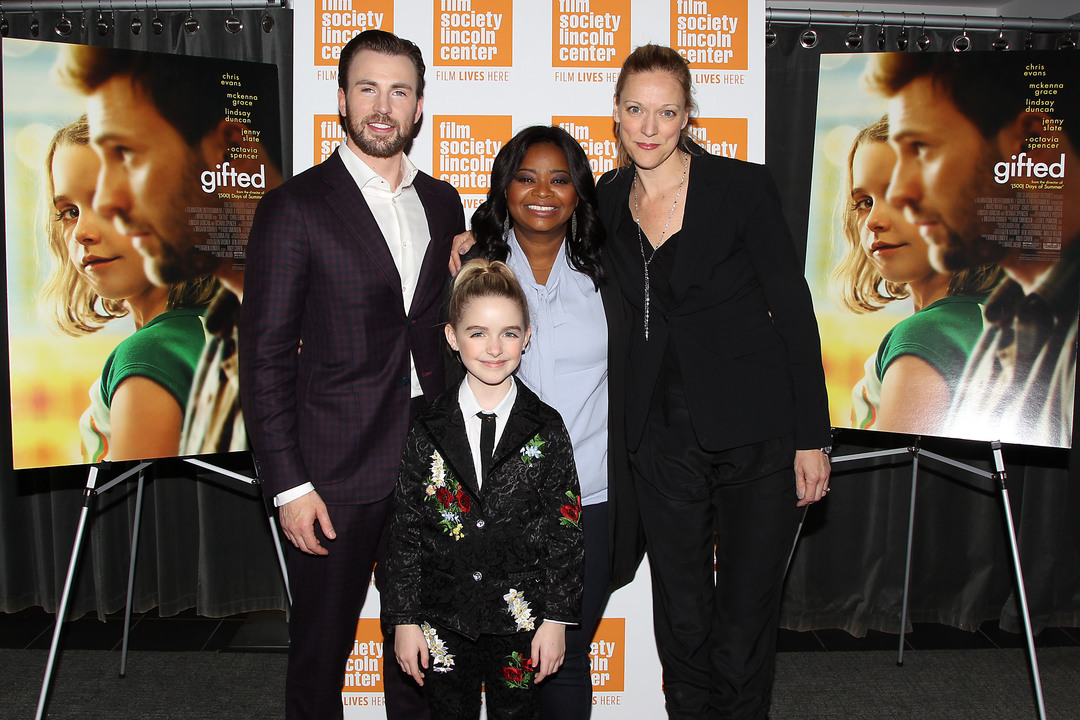 - New York, NY - 4/6/17 - Special New York Screening of Fox Searchlight's GIFTED in partnership with the Film Society of Lincoln Center - Pictured: Chris Evans, Mckenna Grace, Octavia Spencer, Karen Lunder - Photo by: Dave Allocca/Starpix -Location: The New York Institute of Technology